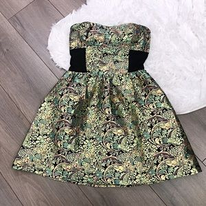 Metallic Tapestry Brocade Party Cocktail Dress